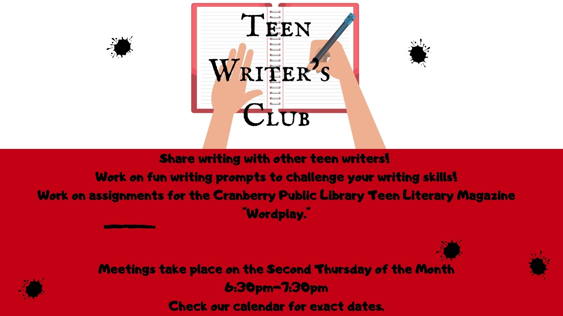 Teen Writers club flyer